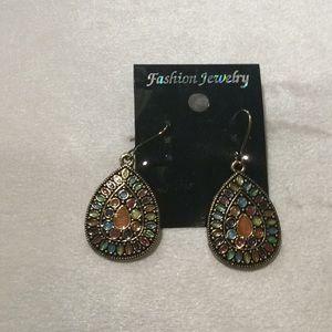 Gold/Multi color dangling earrings($3 each for 3)